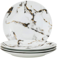 """Royalty Porcelain 4-pc Marble Style White Set of Plates for 4 (Dinner 10.5"""")"""