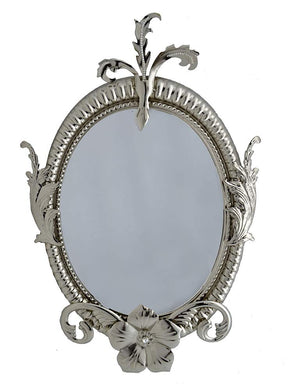 (D) Antique Style Table Mirror with Tiny Floral Decor 28 x 18 Inches