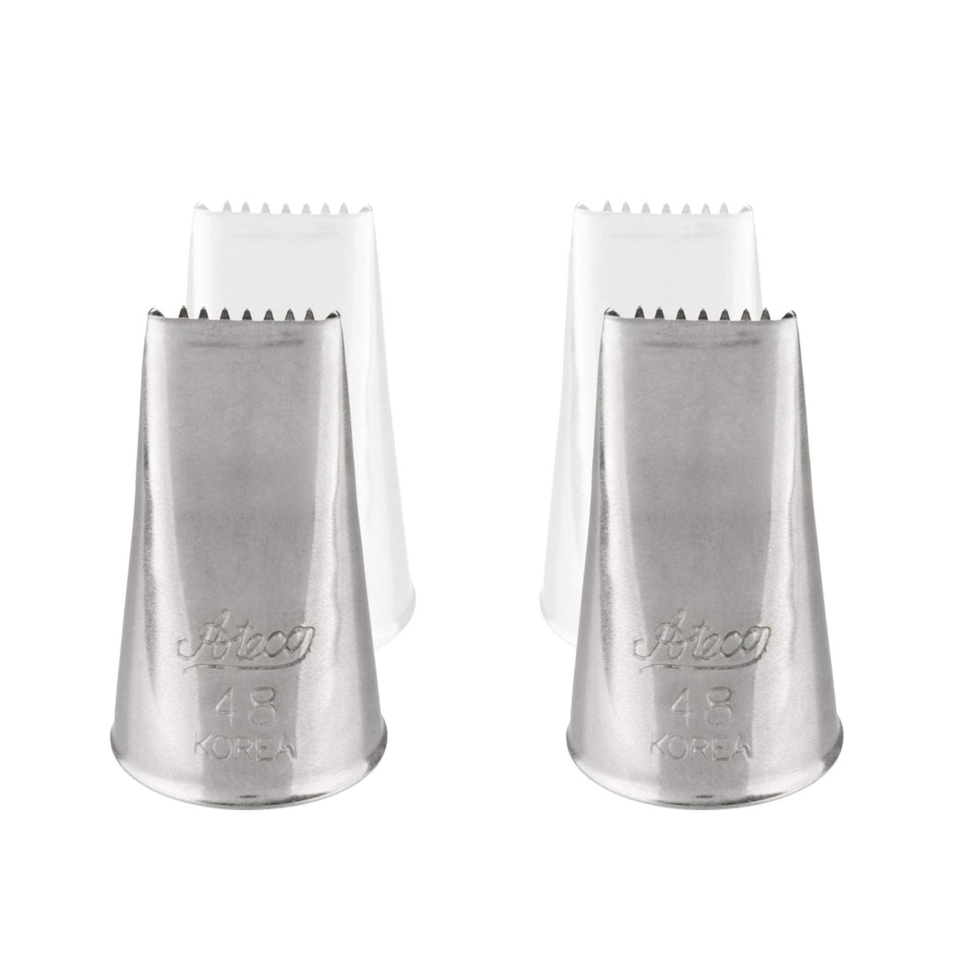 Ateco 48 Basketweave Piping Cake Decorating Tubes, Plain Tips for Bakeware 2 Pc