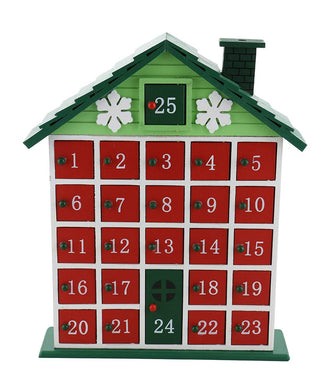 (D) Handcrafted Christmas Decor Green Cabin Advent Calendar 12x10 Inches