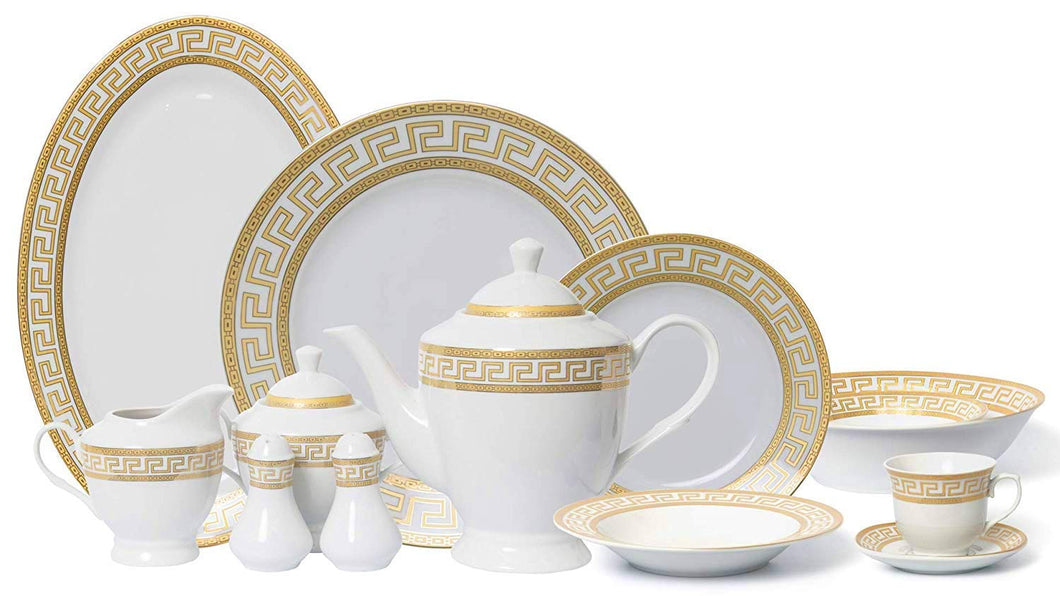 Royalty Porcelain Vintage Gold 57-pc Dinnerware Set 'Greek Key Gold', Premium Bone China