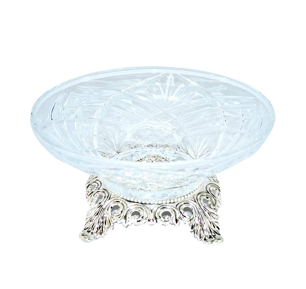(D) Elegant Round Bowl based on Ornate Stand 4.5 x 9.5 Inches