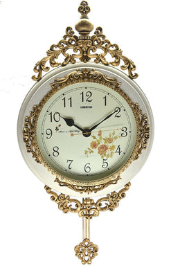 (D) Ornate Round Wall Clock 24 x 15 inches with Pendulum Mechanism