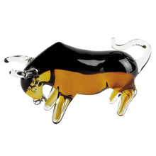 (D) Handcrafted Murano Art Glass Black & Amber Colored Bull Figurine 4""