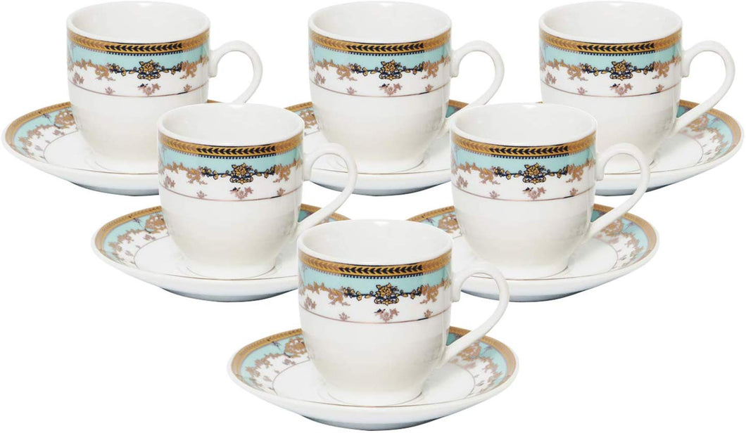 Royalty Porcelain 12pc Coffee Set with Turquoise Rim 6 Cups 6 Saucers, Bone China