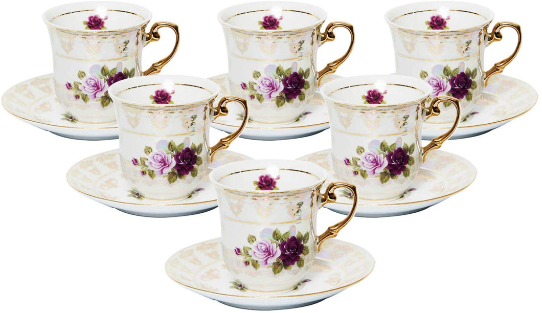 Royalty Porcelain 12-pc Espresso Coffee Set 'English Roses', Bone China
