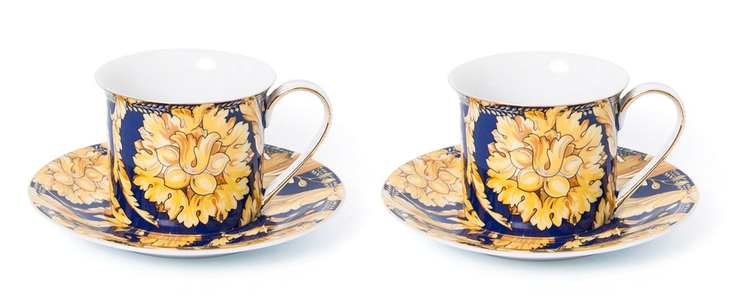 Royalty Porcelain Luxury Tea or Coffee Cup Set, 24K Gold (4 PC, Floral Blue)