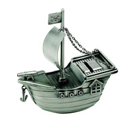 (D) 65th Birthday Gifts for Men, Coin Jar for Adults or Kids, Silver Ship Bank