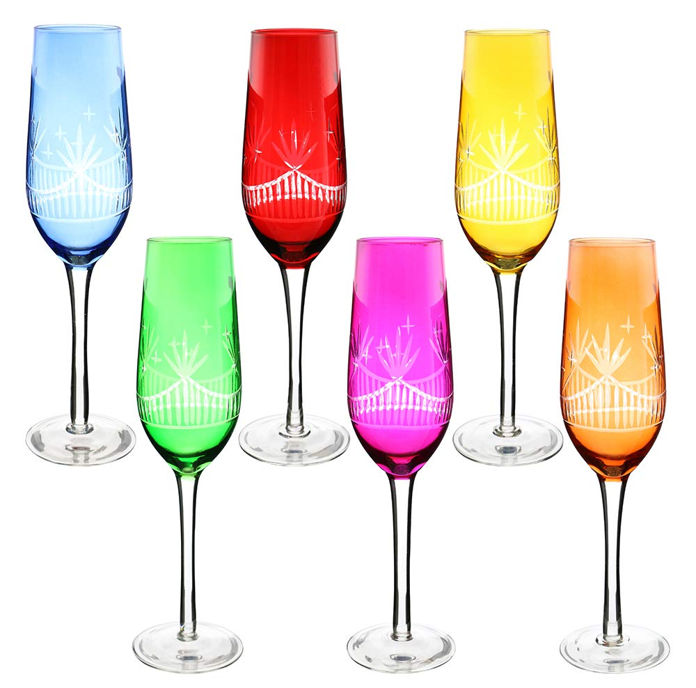 (D) Hand-Cut Crystal Wine Flute Glass 6-pc Set, Modern Style Glassware