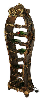 (D) Ornate Wine Bottle Rack for 14 Bottles Decorated with Grape 63x19x11 Inches