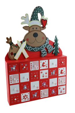 (D) Handcrafted Christmas Decor Moose Advent Calendar 16x11 Inch