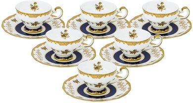 Royalty Porcelain 12pc Miniature Espresso Coffee Sets White with Gold Flowers