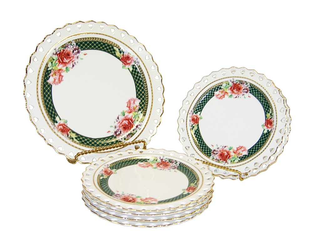 (D) Royalty Porcelain Serving Set Ivory with Rose 7-pc Dessert Dinnerware Plates