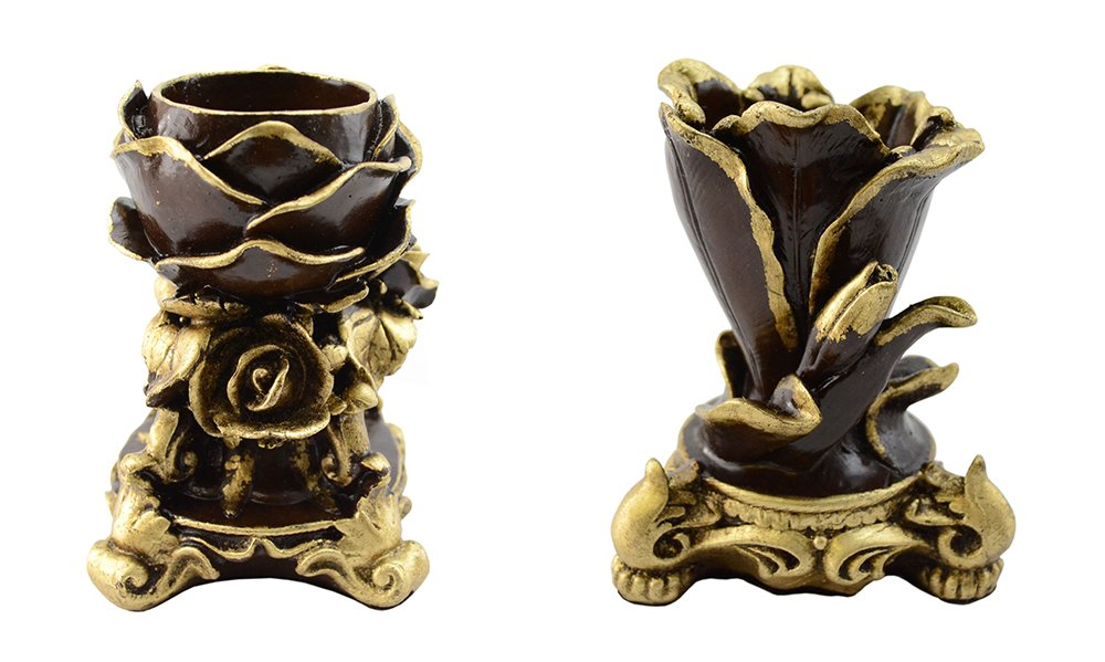 (D) Pair of Candle Holders 5 Inches European Retro Style with a Gold Leaf 2 - pc