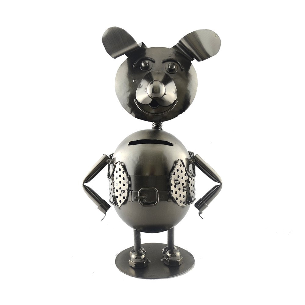 (D) Metal Dog Piggy-Bank Industrial Style 10 x 6 Inches