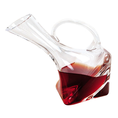 (D) 'Althea Leaning' Wine Decanter 28 Oz, Premium Quality Lead Free Crystal