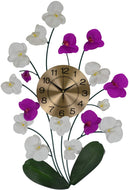 (D) Wall Clock with Floral Decor with Pink and White Orchid 30x20 Inch