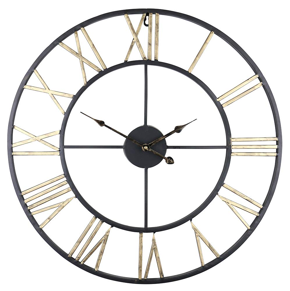 (D) Industrial Round Wall Clock 24 inches with Roman Numerals