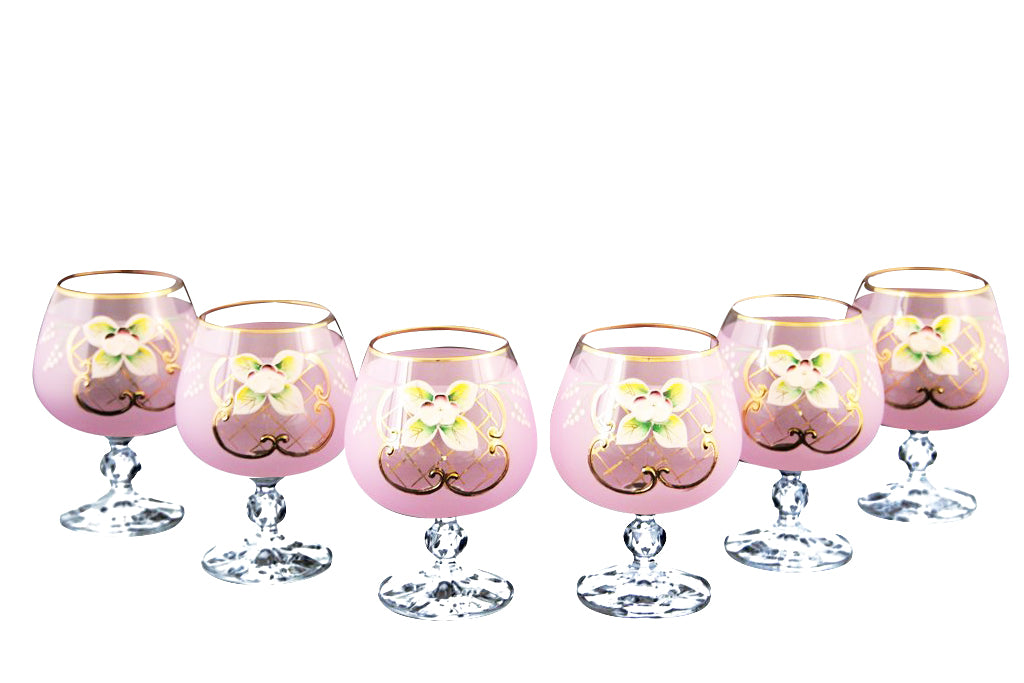 Crystalex 6pc Bohemia Colored Crystal Pink Brandy Glasses Set