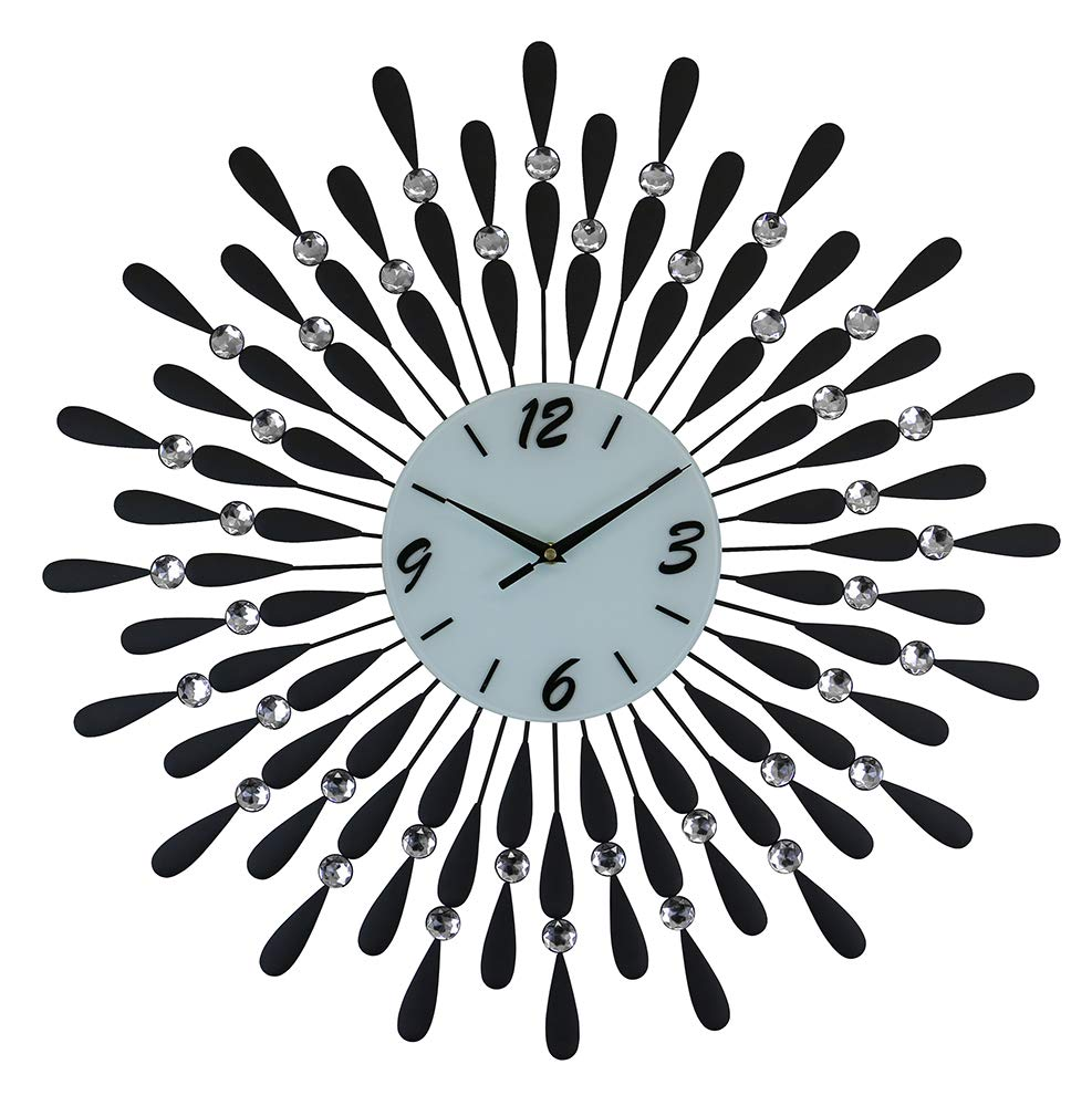 (D) Spectacular Round Wall Clock 24 inches with Crystals and Black Droplets