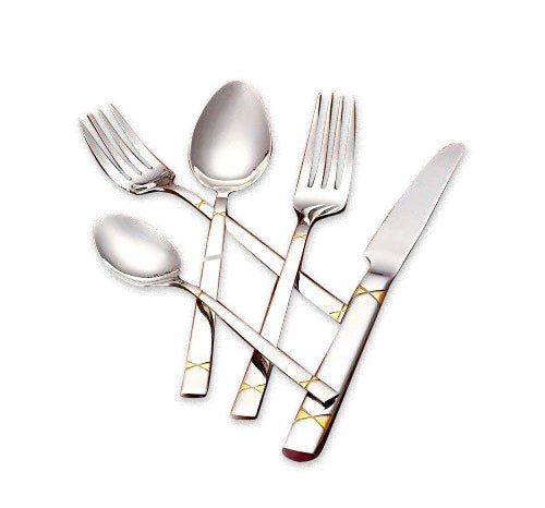 Italian Collection 'X-design Gold' 20pc Stainless Steel Flatware Set for 4