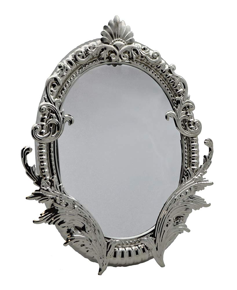 (D) Magnificent Table Mirror with Luxurious Floral Decor 16 x 12 Inches