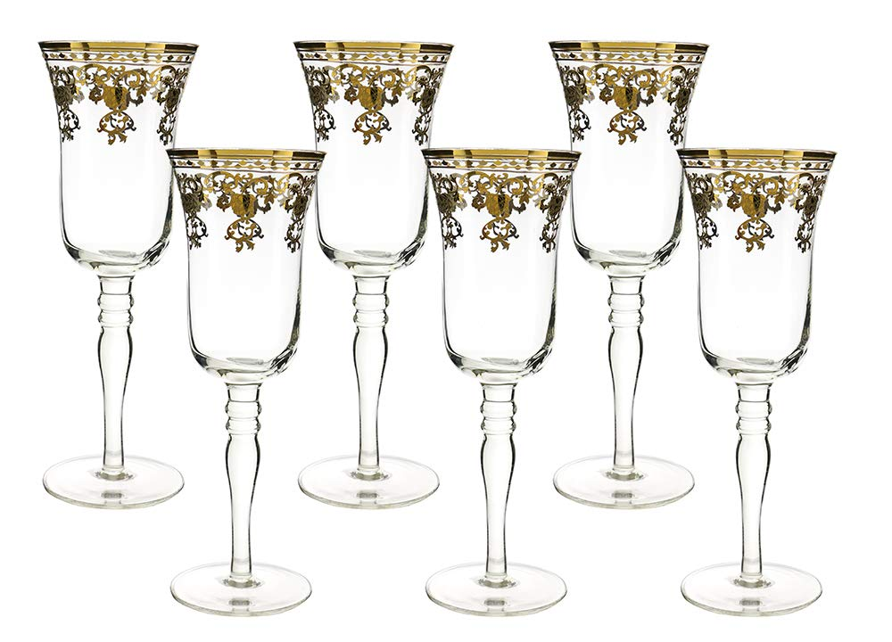 (D) Crystal Champagne Flute Glasses with Luxury Pattern 6pc, Vintage Glassware