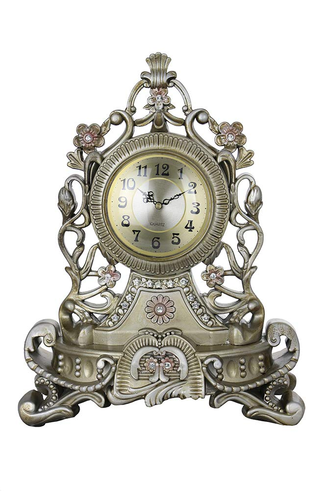 (D) Vintage Silver Table Clock 17x13 inches European Retro Style