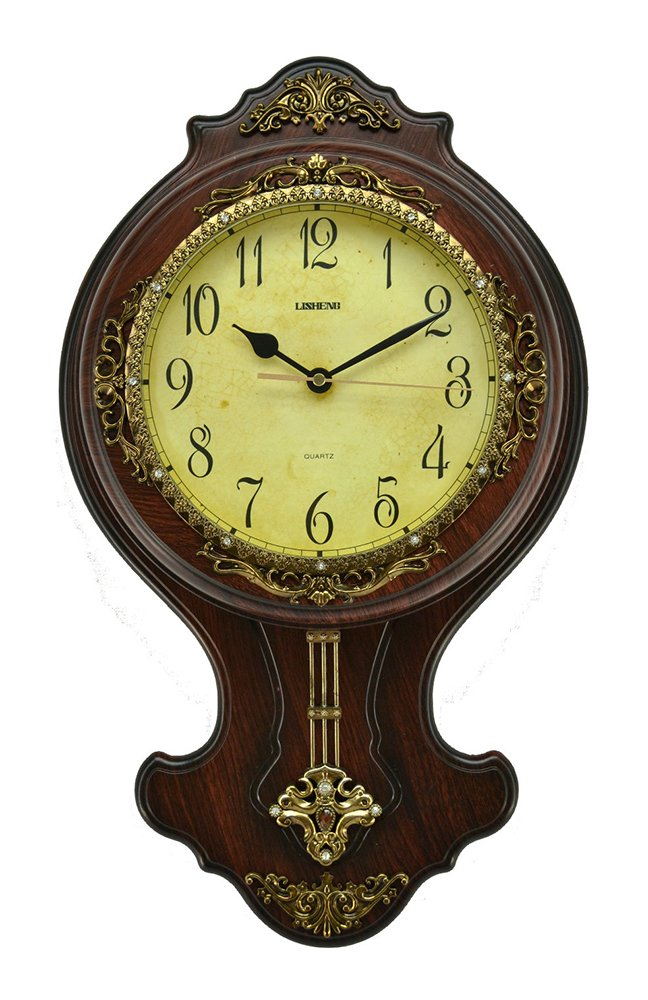(D) Elegant Wall Clock 21 x 12 inches with Pendulum Mechanism