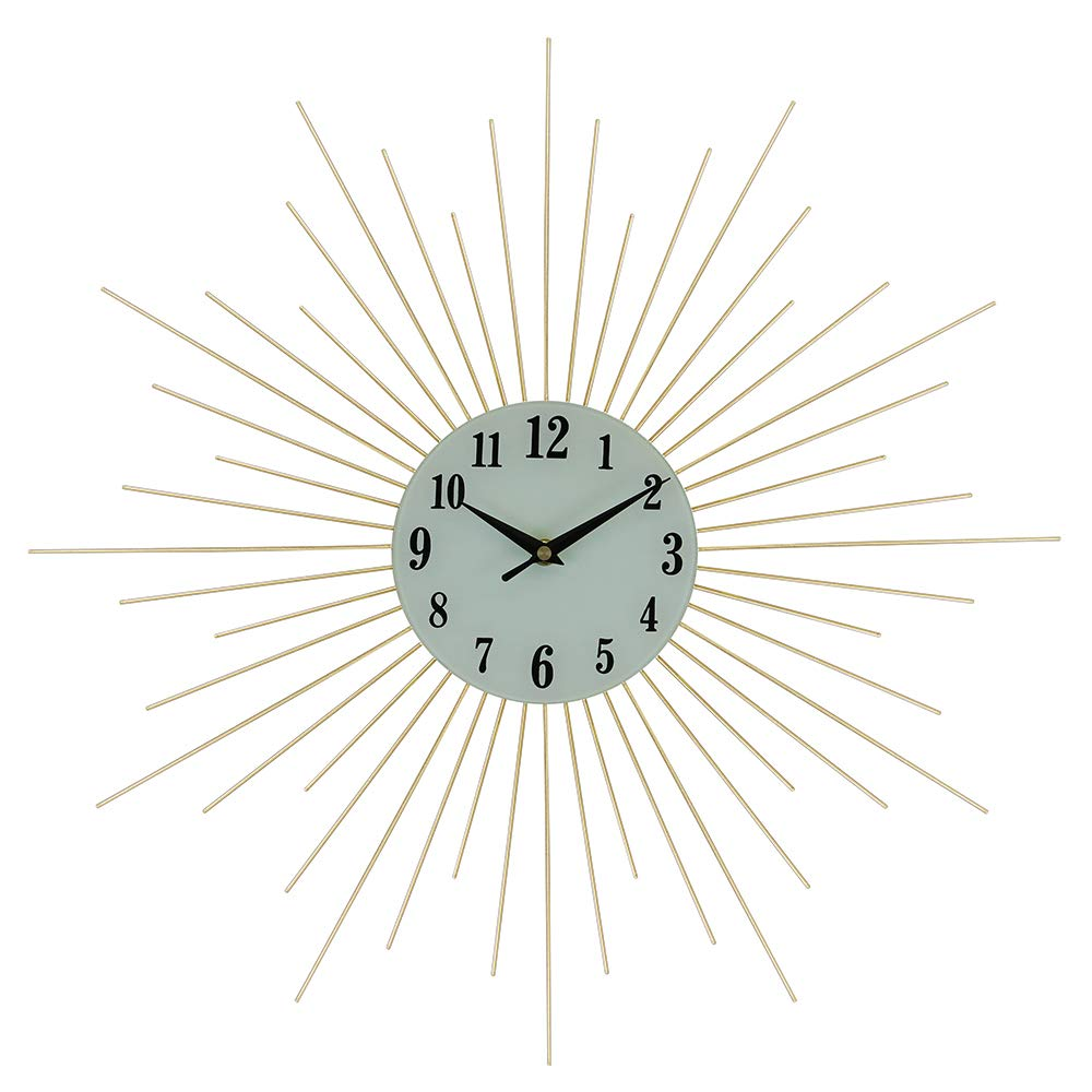 (D) Elegant Round Wall Clock 20 inches with Gold Spikes