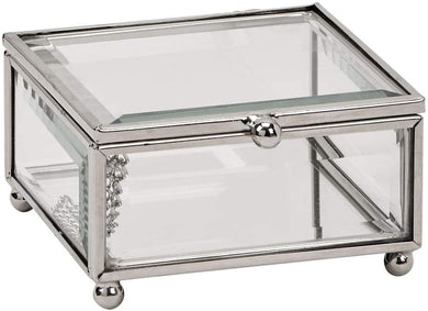 (D) Clear Glass Jewelry Box for Women Silver Storage or Gift Box (3.5x3.5'')