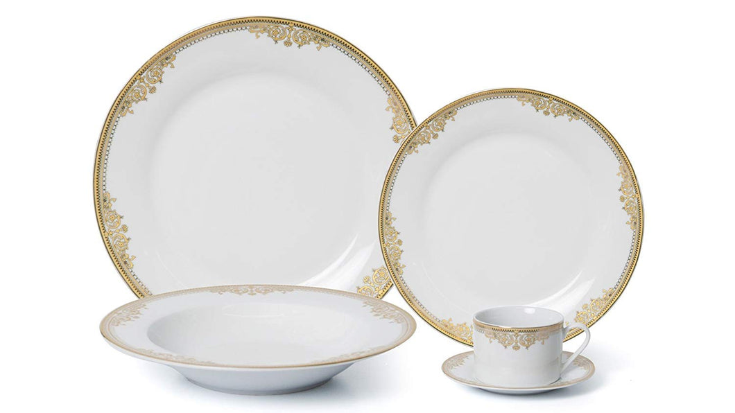 Royalty Porcelain 5-pc Dinner Set for 1, 24K Gold, Premium Bone China (15369G-5)