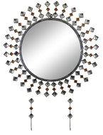 (D) Modern Round Wall Mirror with Key Chain Holders and Swarovski Crystal
