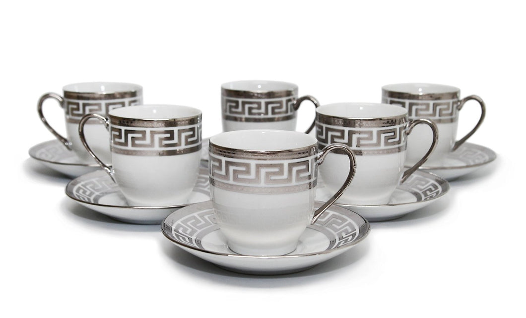 Royalty Porcelain 12pc Silver Coffee Set, 6 Silver-Plated Cups and Saucers