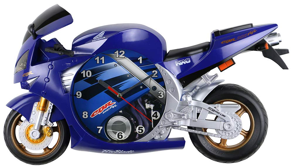(D) Honda CBR Motorcycle Wall Clock 20x11 inches (Blue)