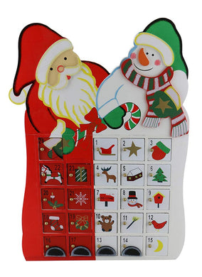(D) Handcrafted Christmas Decor St.Claus with Snowman Advent Calendar