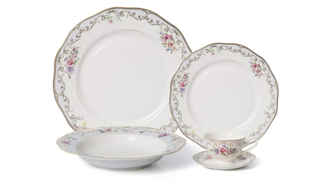 Royalty Porcelain 20-pc Dinner Set for 4, 24K Gold, Bone China (Romantic Bloom)