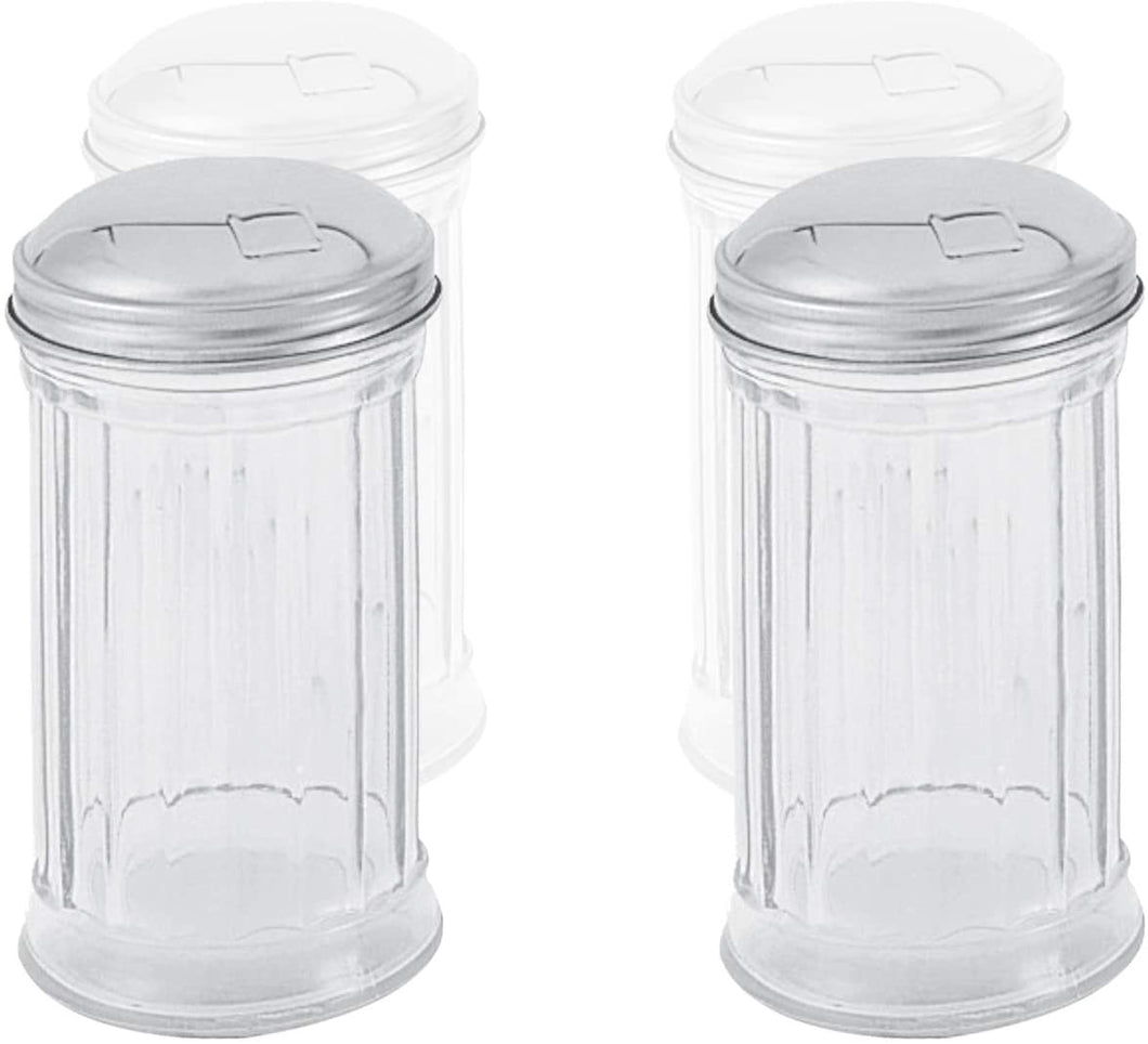 Sugar or Cheese Glass Dispenser with Flip Cap 12 Oz, Modern Style Kitchen Utensil (2 Pc)