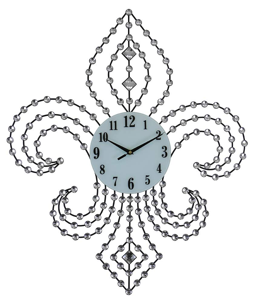 (D) Eye-catching Fleur De Lis Wall Clock 28x24 inches with Crystals