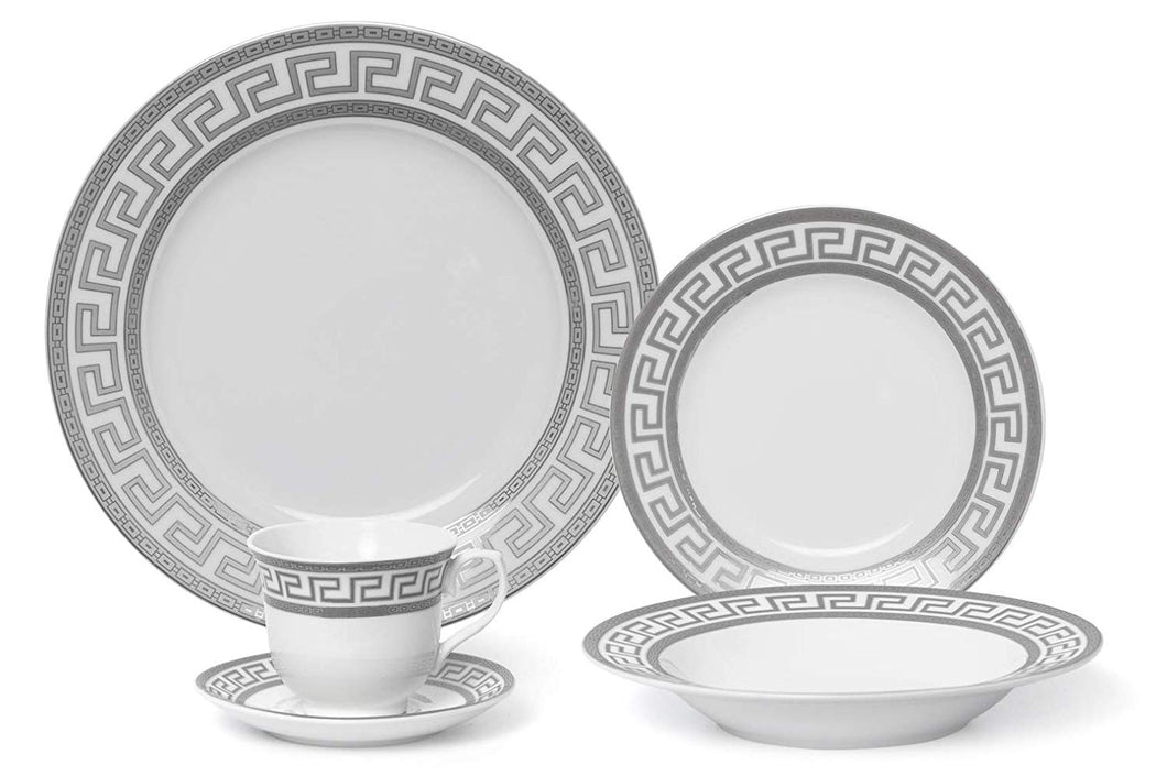 Royalty Porcelain Platinum Greek 20pc Silver Greek Dinner Set for 4, Bone China
