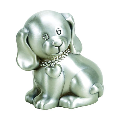 (D) 1st Year Birthday for Boy, Silver Dog Coin Bank for Kids, Piggy Bank