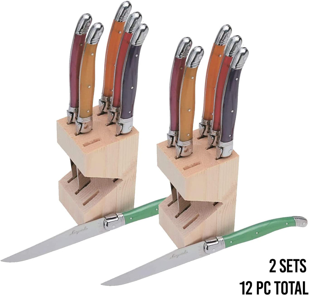 (D) Laguiole Steak Knives Set of 6 Serrated Stainless Steel in a Block (Orange)