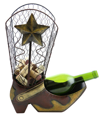 (D) Wine Bottle and Cork Holder, Cowboy Boot with Star, Bar Counter Decoration