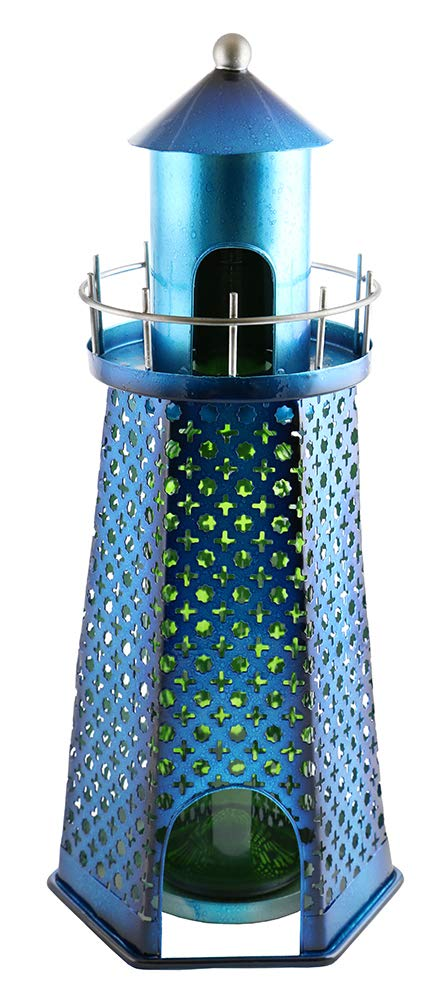 GIFTS PLAZA (D) Wine Bottle Holder, Blue Lighthouse, Bar Counter Decoration 15 Inches