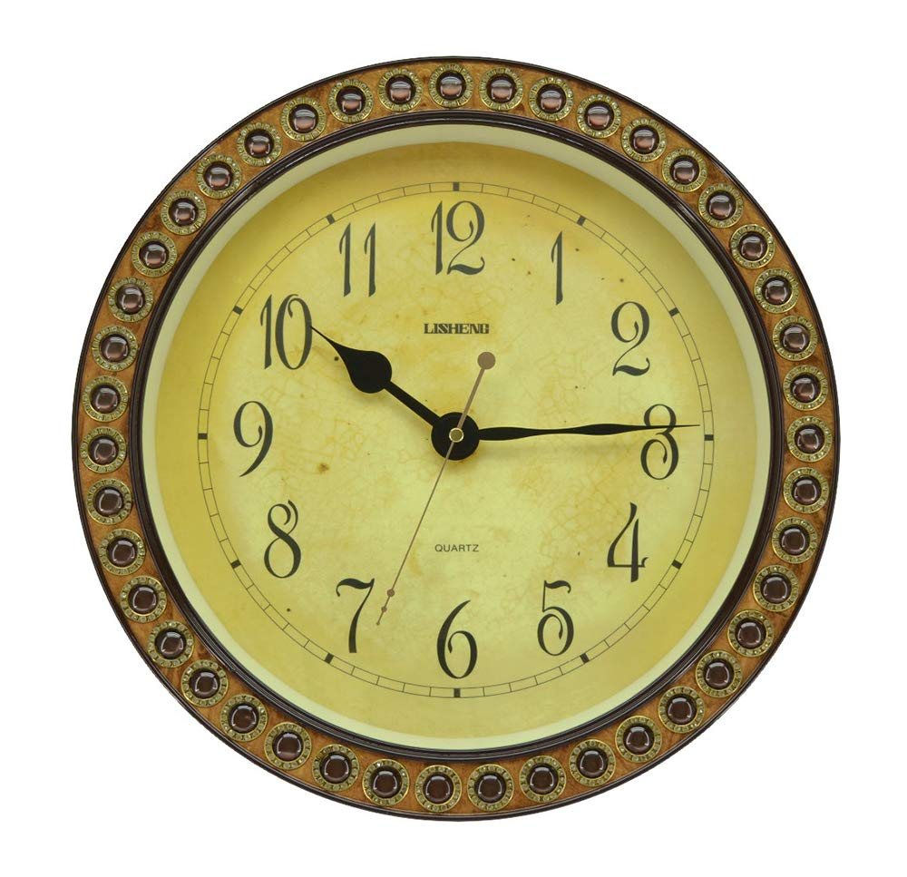 (D) Elegant Round Wall Clock 14.5 inches