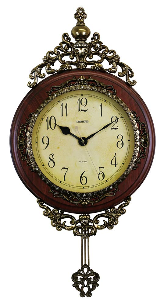 (D) Elegant Vintage Wall Clock 29 x 15 inches with Pendulum Mechanism