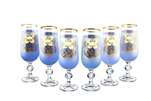 Crystalex 6pc Bohemia Colored Crystal Blue Champagne Flute Glasses Set, 24K Gold