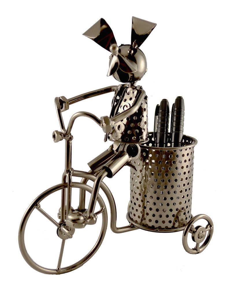 (D) Metal Pen Holder Dog on Tricycle for Desk - Industrial Style