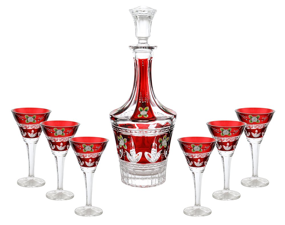 (D) Decanter Set with 6 Liquor Tumblers with Red Decoration, Lead Free