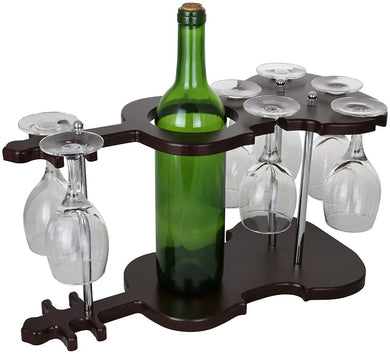 (D) Guitar Shaped Wine Bottle Holder and 7 Glasses Holder, Home Decor & Gift